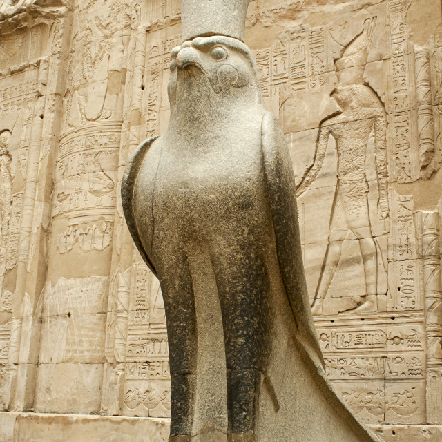 """Statue of Horus at Edfu Temple, Egypt"" stock image"