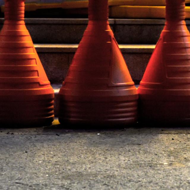 """""""Traffic Cones, Korea"""" stock image"""