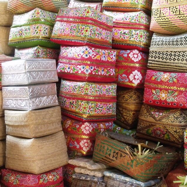"""""""Stacks of Baskets Ubud Market Bali"""" stock image"""