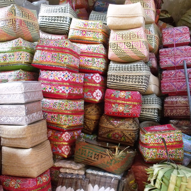 """Piles of woven baskets Ubud Market Bali"" stock image"