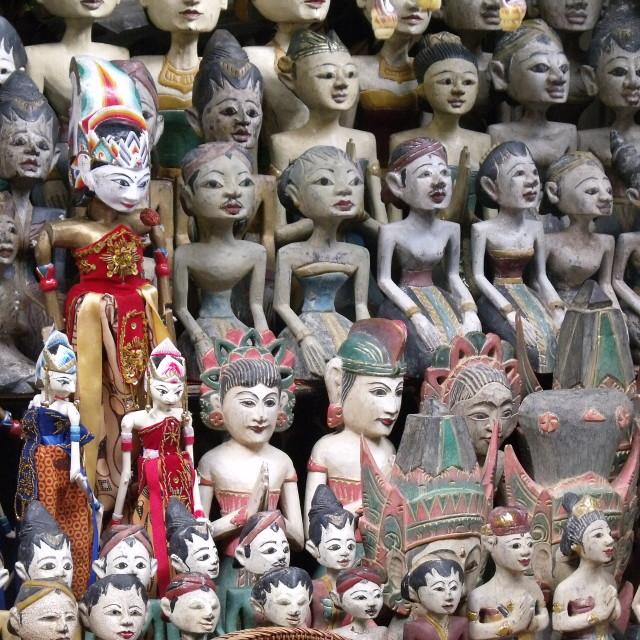 """Rows Statues Ubud Market Bali"" stock image"
