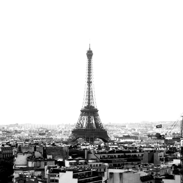 """""""Eiffel Tower in Black and White"""" stock image"""