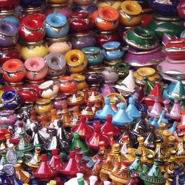 """Pottery stall Marrakech Souks"" stock image"