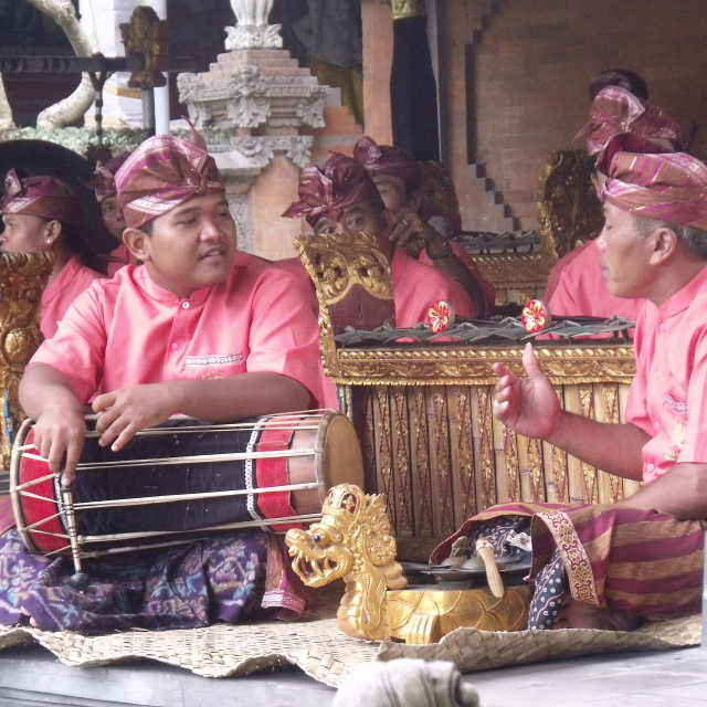 """""""Musicians chatting at Bali Ceremony"""" stock image"""