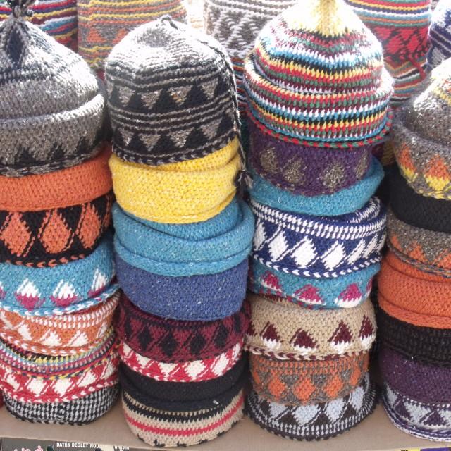 """Hats at Berber market Marrakesh"" stock image"