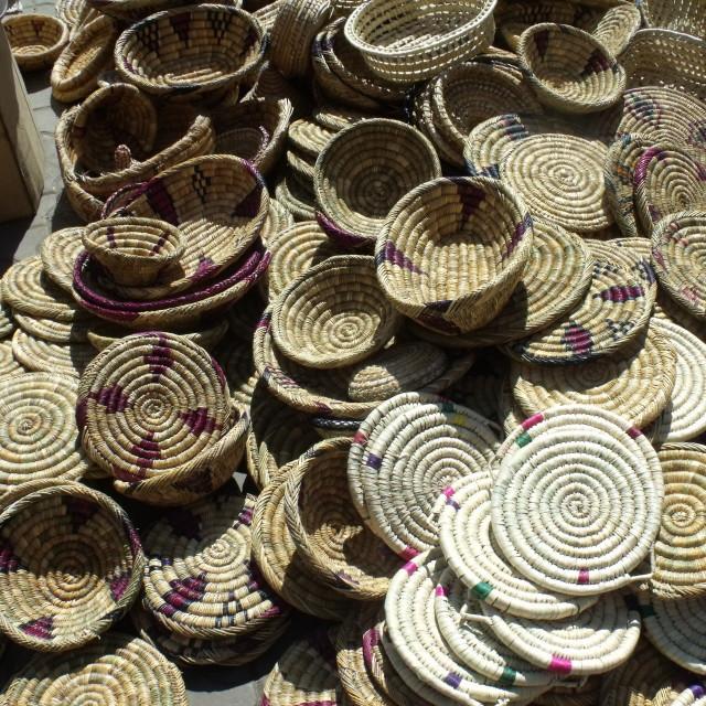 """Hand woven baskets at Berber Market"" stock image"
