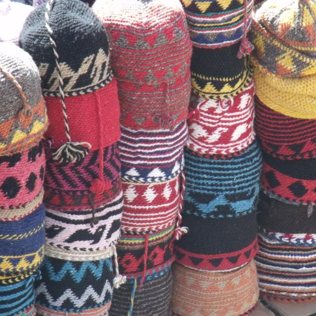 """Hats at Berber Market"" stock image"