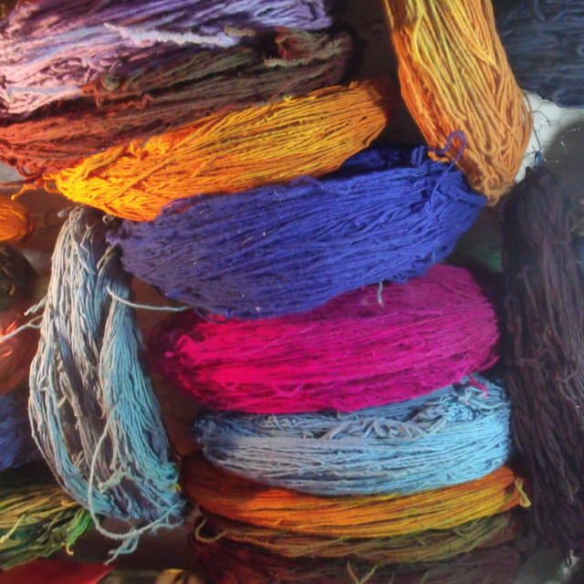 """""""Hanks of wool at the Dyers Souk Marrakesh"""" stock image"""