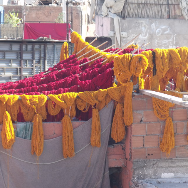 """""""Hanks of wool drying in the sun at Dyers Souk"""" stock image"""