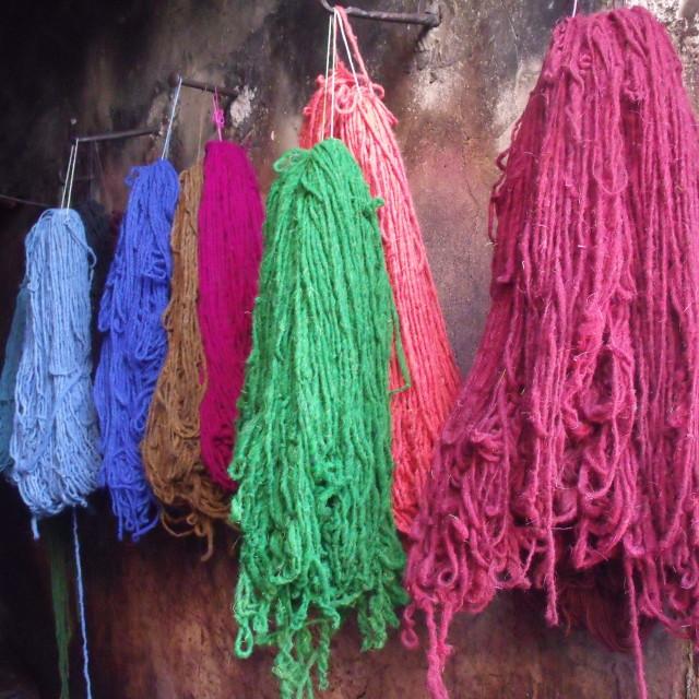 """Hanks of wool drying in dyers souks Marrakesh"" stock image"