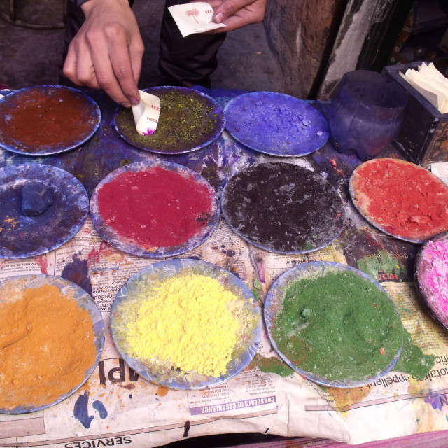 """""""Pigment Dyes in Dyers Souk Marrakesh"""" stock image"""