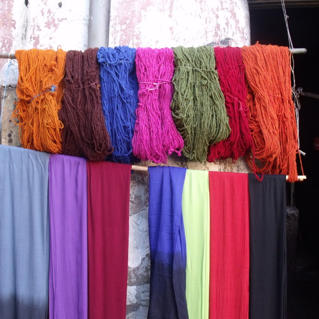 """""""Hanks of wool and scarves Marrakesh"""" stock image"""