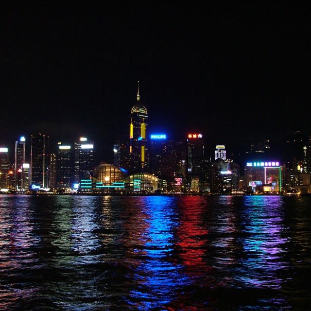 """Hong Kong Harbour Lights"" stock image"