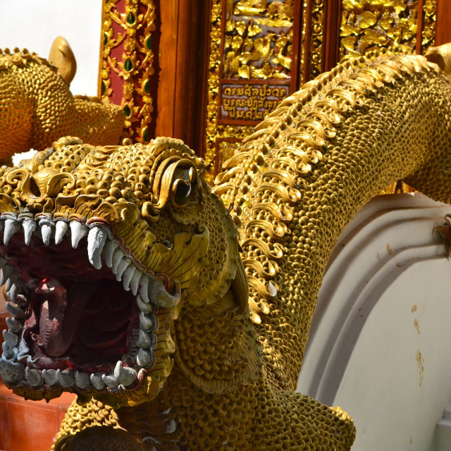 """Thai dragon temple steps"" stock image"