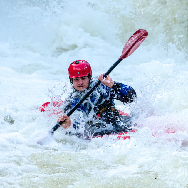 """Wild River Kayaker"" stock image"