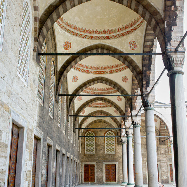"""""""Blue Mosque Arched Corridor"""" stock image"""