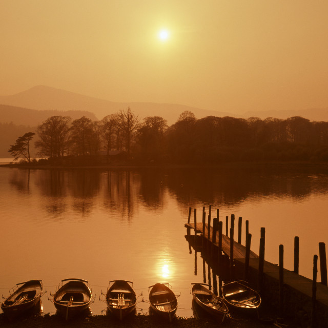 """Misty sunset, Derwentwater"" stock image"