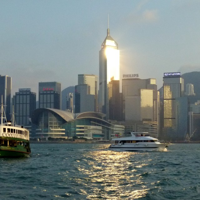 """""""Hong Kong harbour at dusk"""" stock image"""