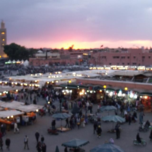 """Djemaa el-Fna at dusk"" stock image"