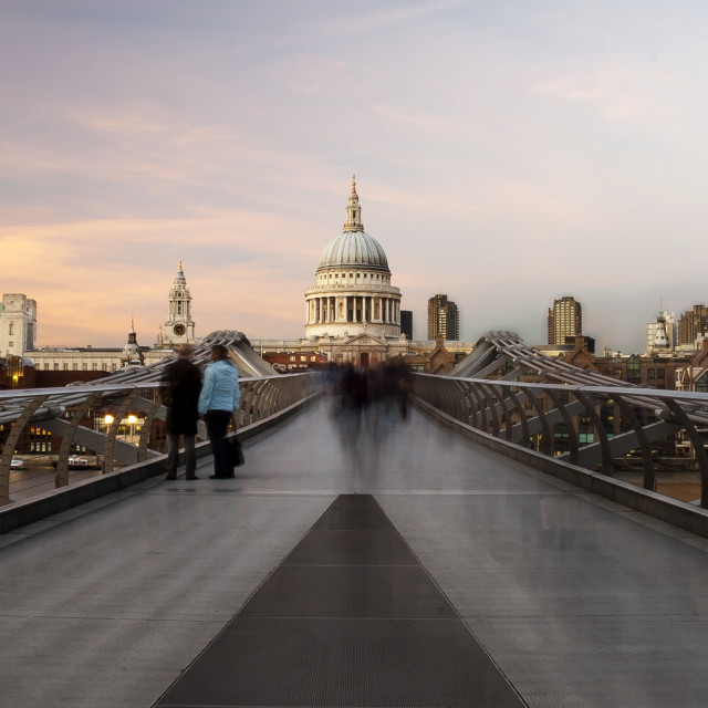 """Commuters On The Bridge"" stock image"