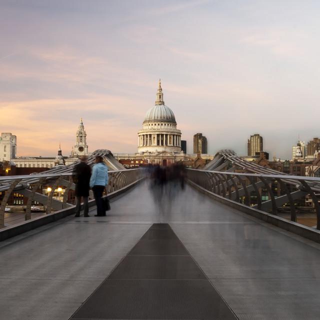 """Commuters On The Bridge"" stock image"