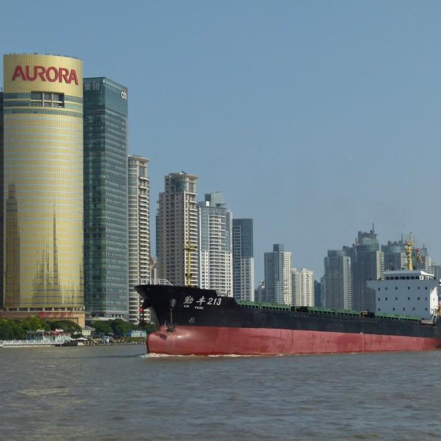 """Shanghai river traffic"" stock image"