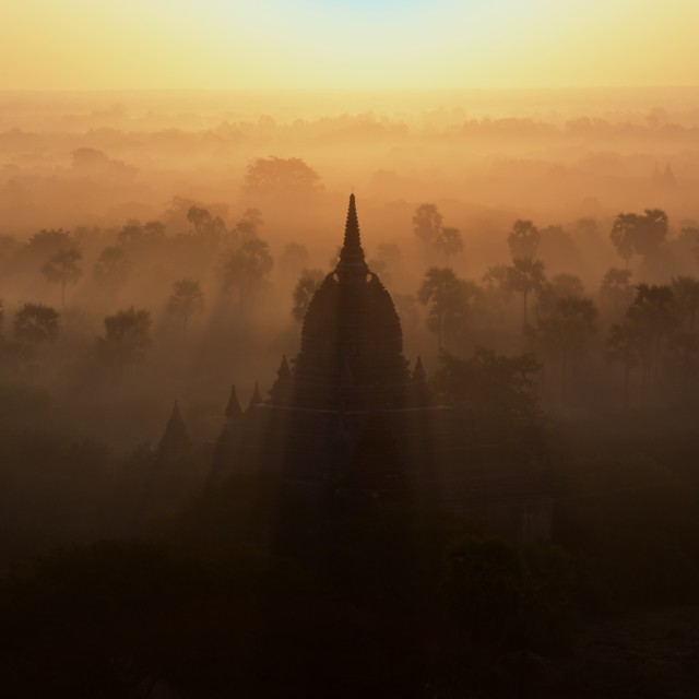 """Sunrise Over the Stupa"" stock image"