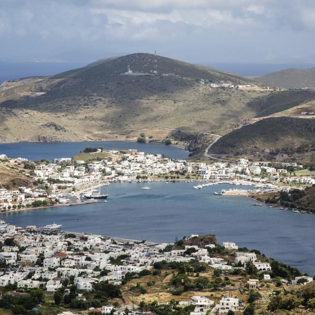 """Patmos, Port of Skala"" stock image"