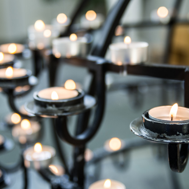 """Candles in Hallgrí­mskirkja"" stock image"