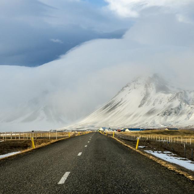 """Snaefellsnes winter road"" stock image"