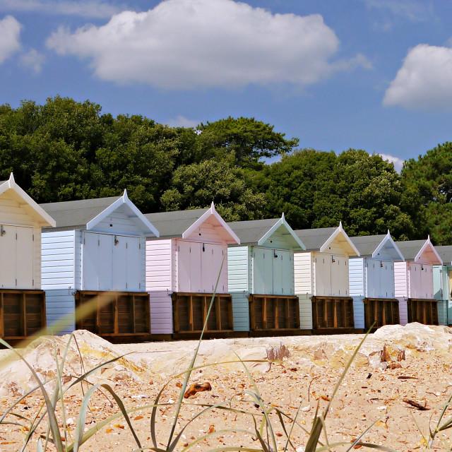 """""""Beautiful Beach Huts (Full Size)"""" stock image"""