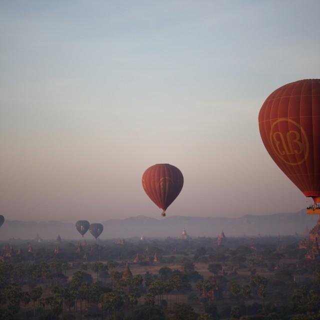 """""""Balloons over Myanmar"""" stock image"""