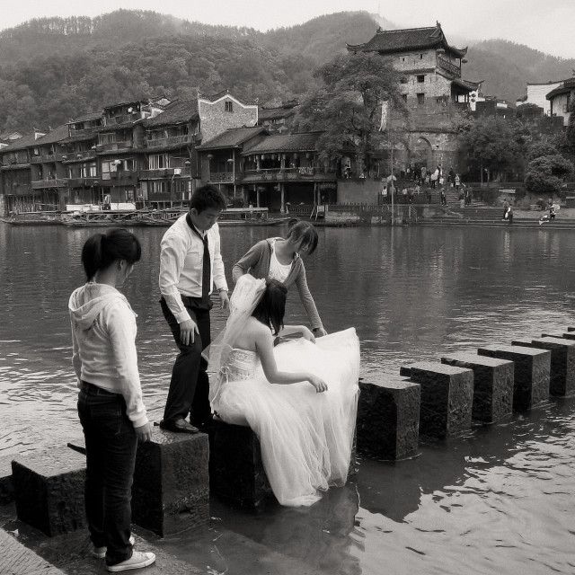 """Wedding shooting in Fenghuang Ancient Town, China"" stock image"