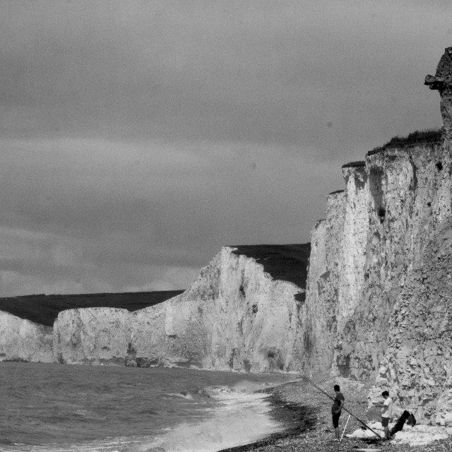 """Fishing under the Seven Sisters"" stock image"