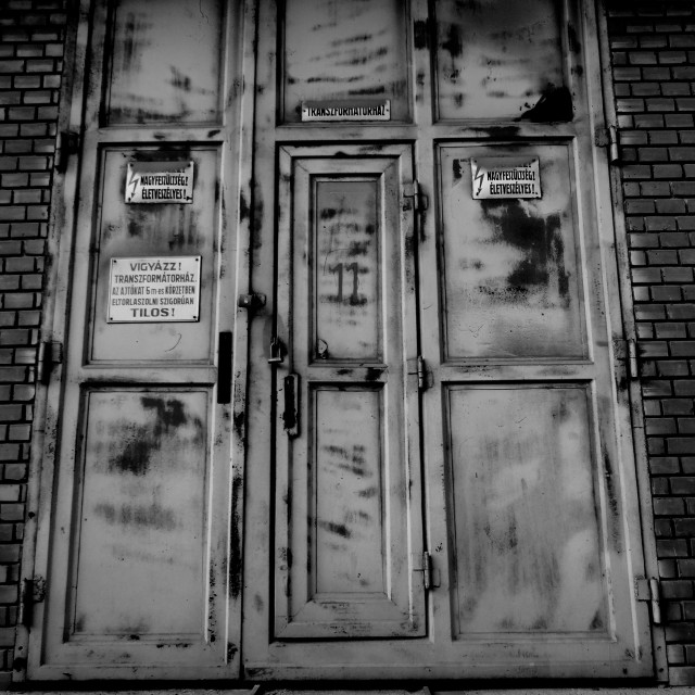 """Soviet factory doors"" stock image"