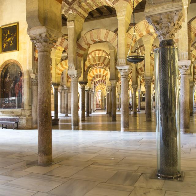 """Columns of La Mezquita Cathedral (Cordoba Mosque)"" stock image"