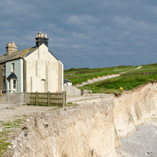 """Coastguard Cottages at Birling Gap, Sussex"" stock image"