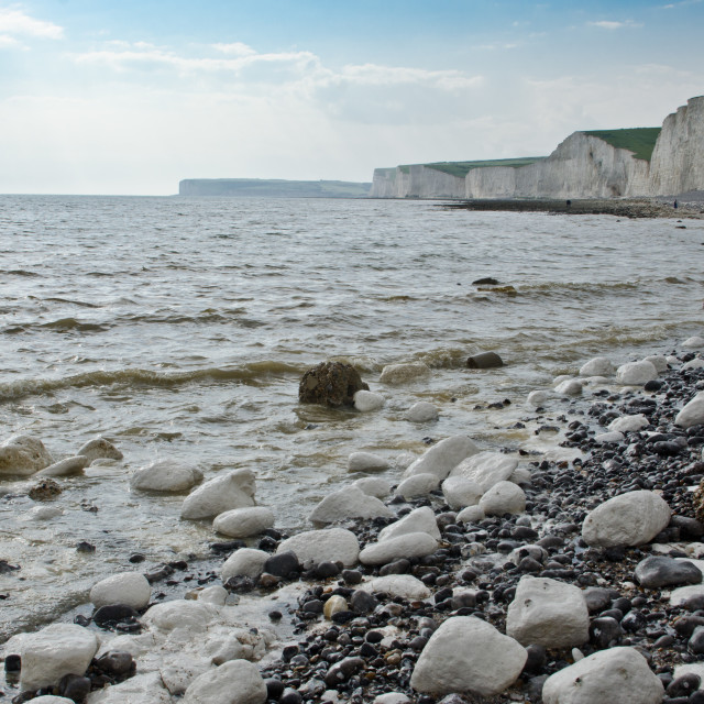"""Seven Sisters from Birling Gap beach"" stock image"