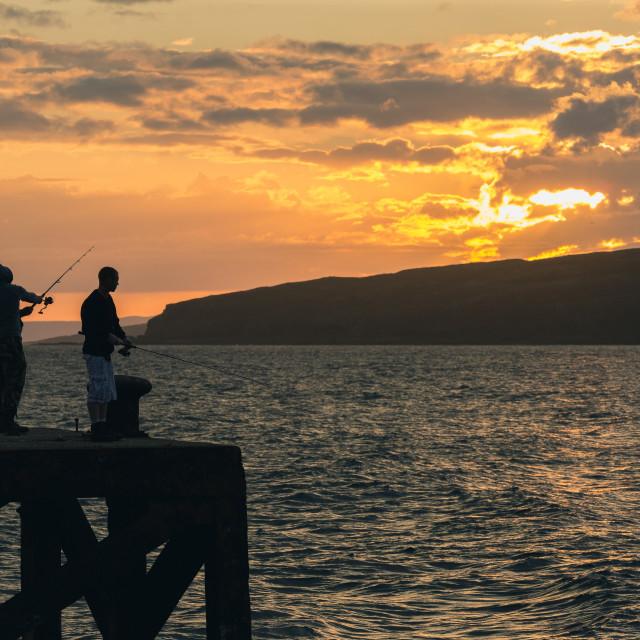 """Late night fishing"" stock image"