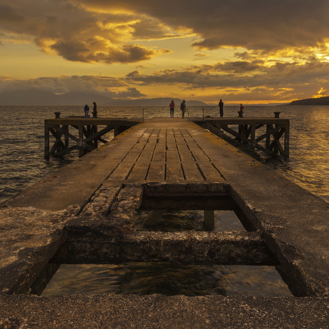 """""""Fishing on the Pier"""" stock image"""