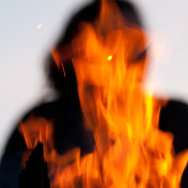"""Woman in fire"" stock image"