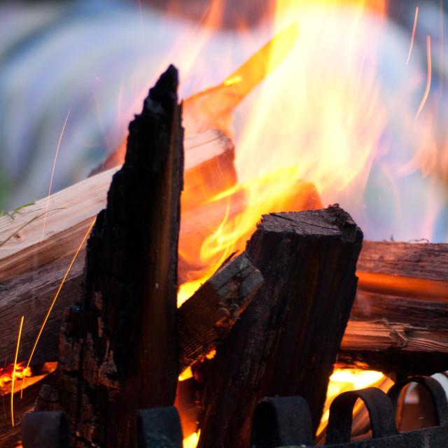 """""""Burning wood"""" stock image"""