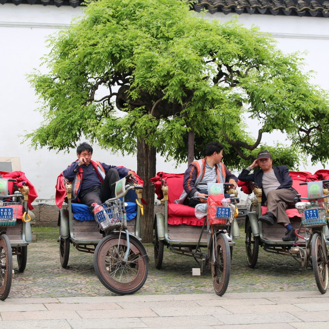 """Suzhou rickshaws"" stock image"