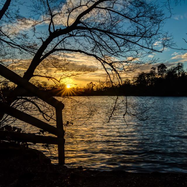 """Sunset behind the lake"" stock image"