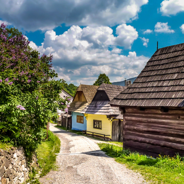 """Street in the Vlkolinec village,Slovakia"" stock image"