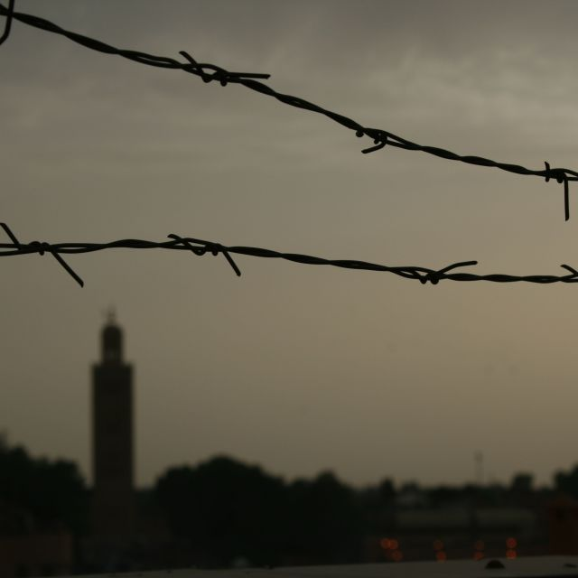 """""""Barbed wire city"""" stock image"""
