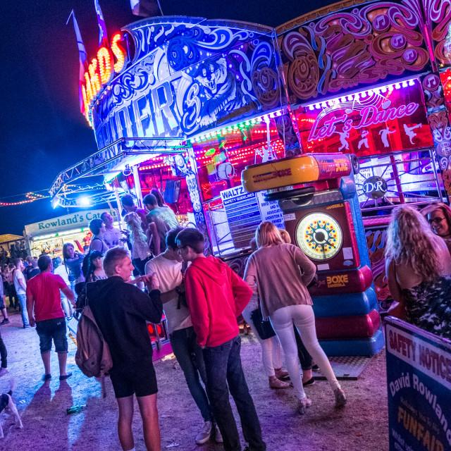 """Fairground at night"" stock image"