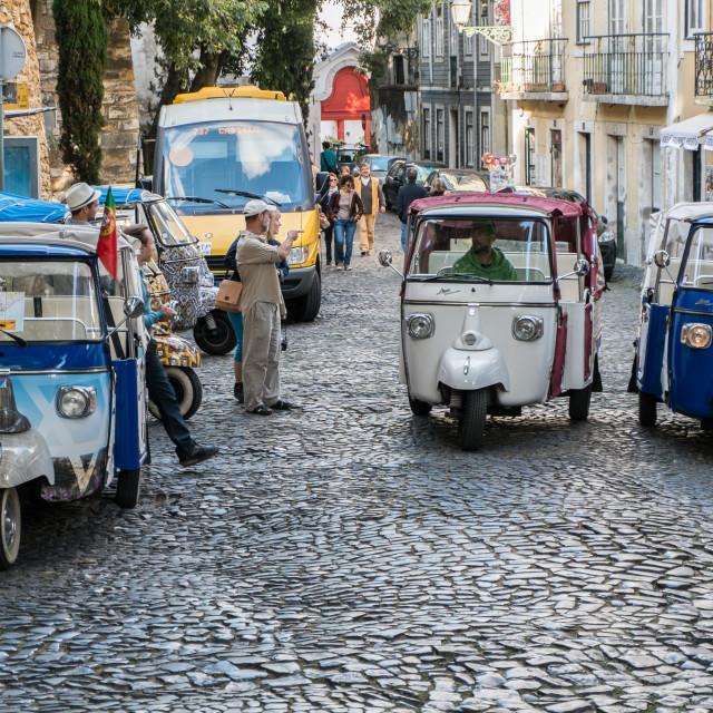 """""""Lisbon tuk-tuks"""" stock image"""