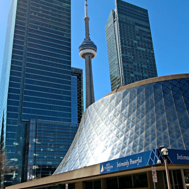 """""""Roy Thomson Hall and CN Tower"""" stock image"""