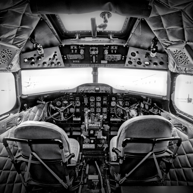 """The cockpit of a DC3 Dakota"" stock image"